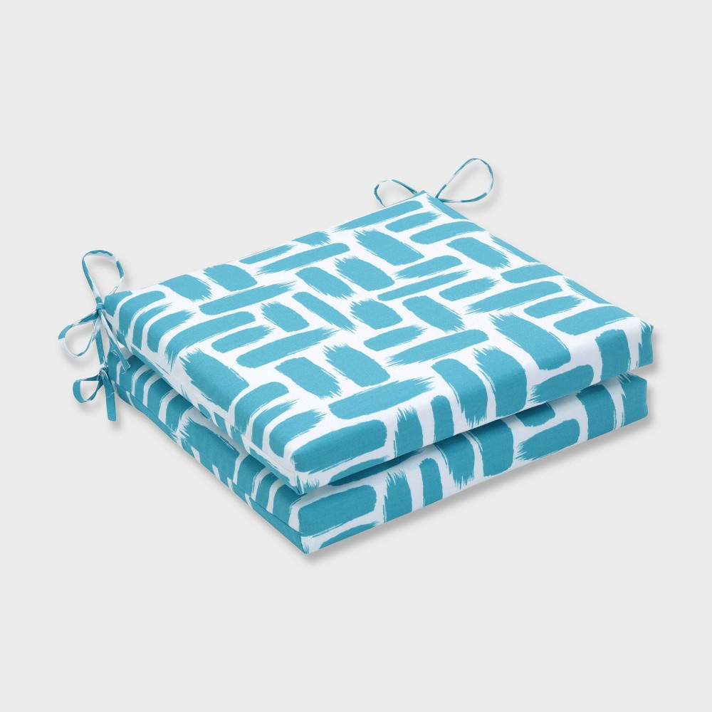 "Image of ""20"""" x 20"""" x 3"""" 2pk Baja Turquoise Squared Corners Outdoor Seat Cushions Blue - Pillow Perfect, Blue White"""