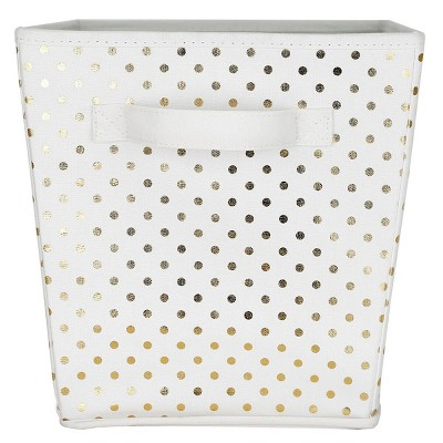Large Polka Dot Toy Storage Bin White/Gold - Pillowfort™