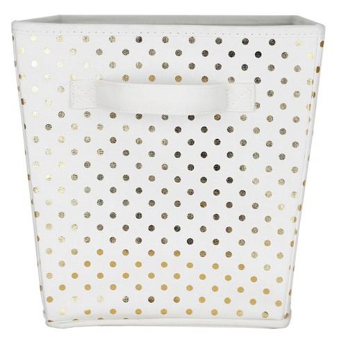 Large Polka Dot Toy Storage Bin White & Gold - Pillowfort™ - image 1 of 2