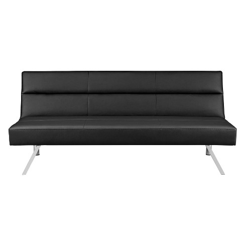 Katie Deluxe Futon with Memory Foam Black Faux Leather - Room & Joy - image 1 of 6