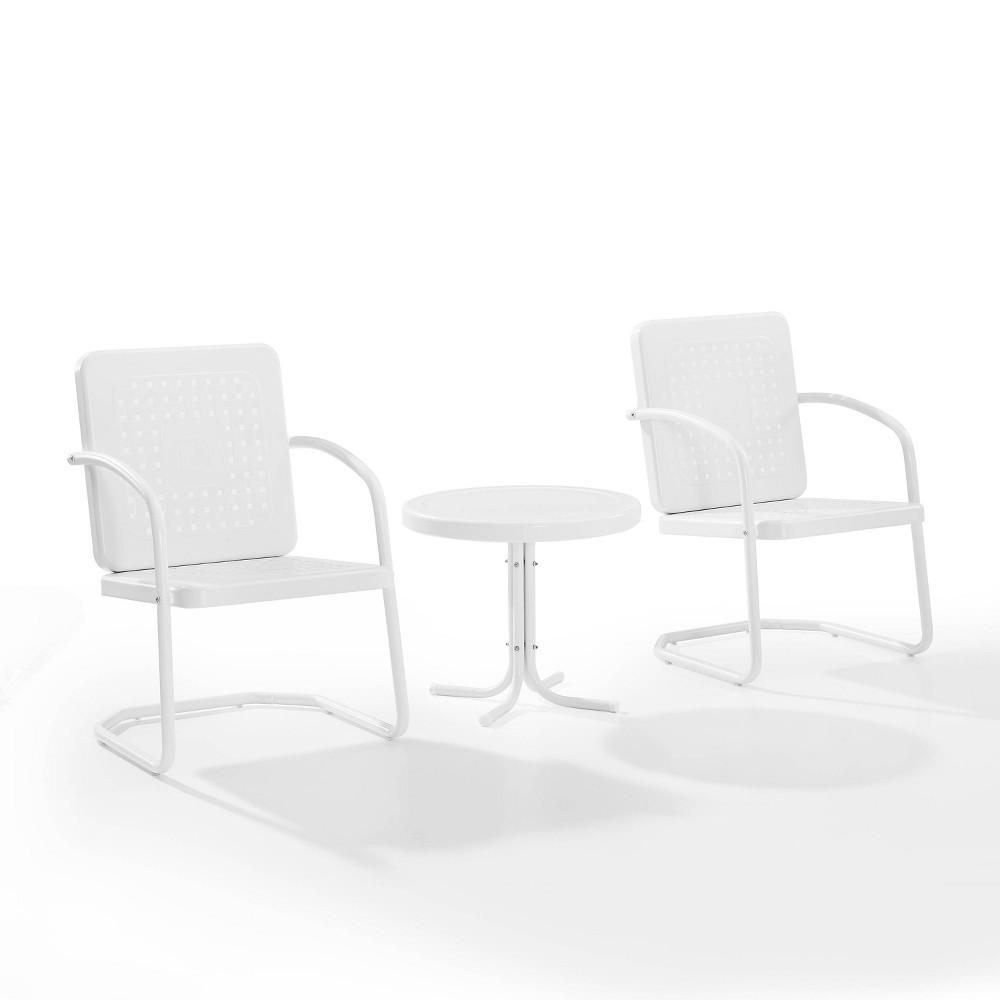 Bates 3pc Outdoor Chair Set White Crosley