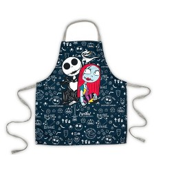 Seven20 Nightmare Before Christmas Apron with Jack & Sally and Adjustable Straps - Black