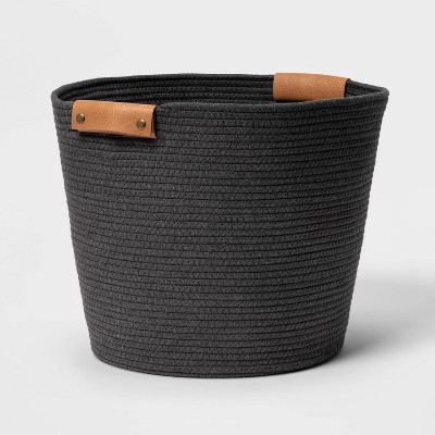 "17"" Coiled Rope Floor Bin Warm Gray Charcoal - Threshold™"