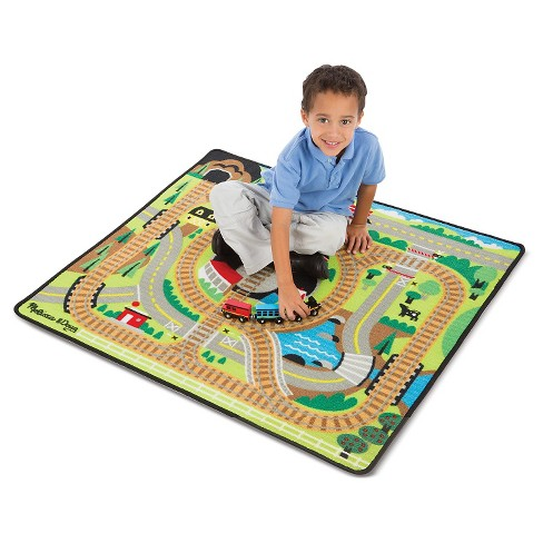 Melissa Doug Round The Rails Train Rug With 3 Linking Wooden Cars 39 X 36 Inches