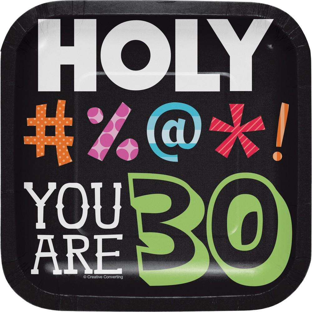 24ct Holy Bleep 30th Birthday Dessert Plates Black