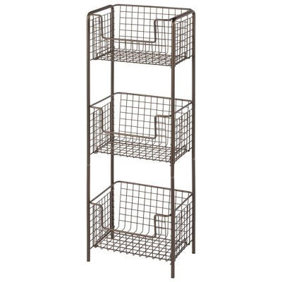 mDesign Vertical Standing Kitchen Pantry Food Shelving with 3 Baskets
