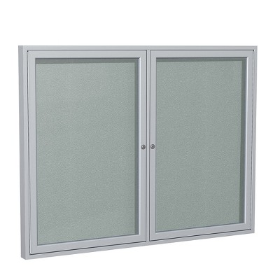 Ghent 2 Door Enclosed Vinyl Bulletin Board with Satin Frame 3'H x 5'W Silver PA23660VX193