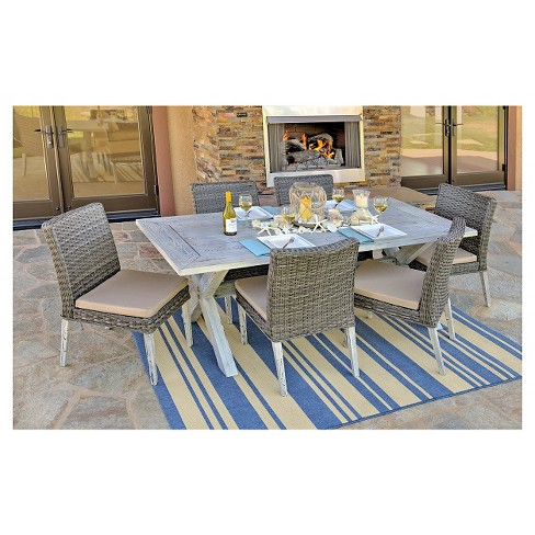 The-HOM Lindmere 7-Piece Patio Dining Set Antique Gray with Beige Cushions - image 1 of 12