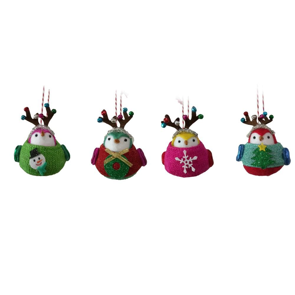 4ct Jingle City Mini Bird Christmas Ornament Set - Wondershop