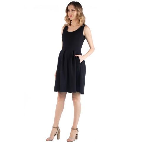 24seven Comfort Apparel Women's Maternity Sleeveless Pleated Dress - image 1 of 3