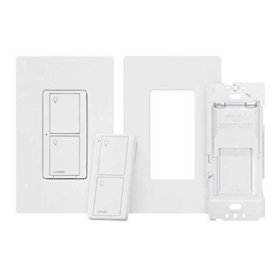 Lutron Caseta Smart Switch Kit with Remote | 3-Way (2 Points of Control) | Works with Alexa, Apple HomeKit, and the Google Assistant | P-PKG1WS-WH | White