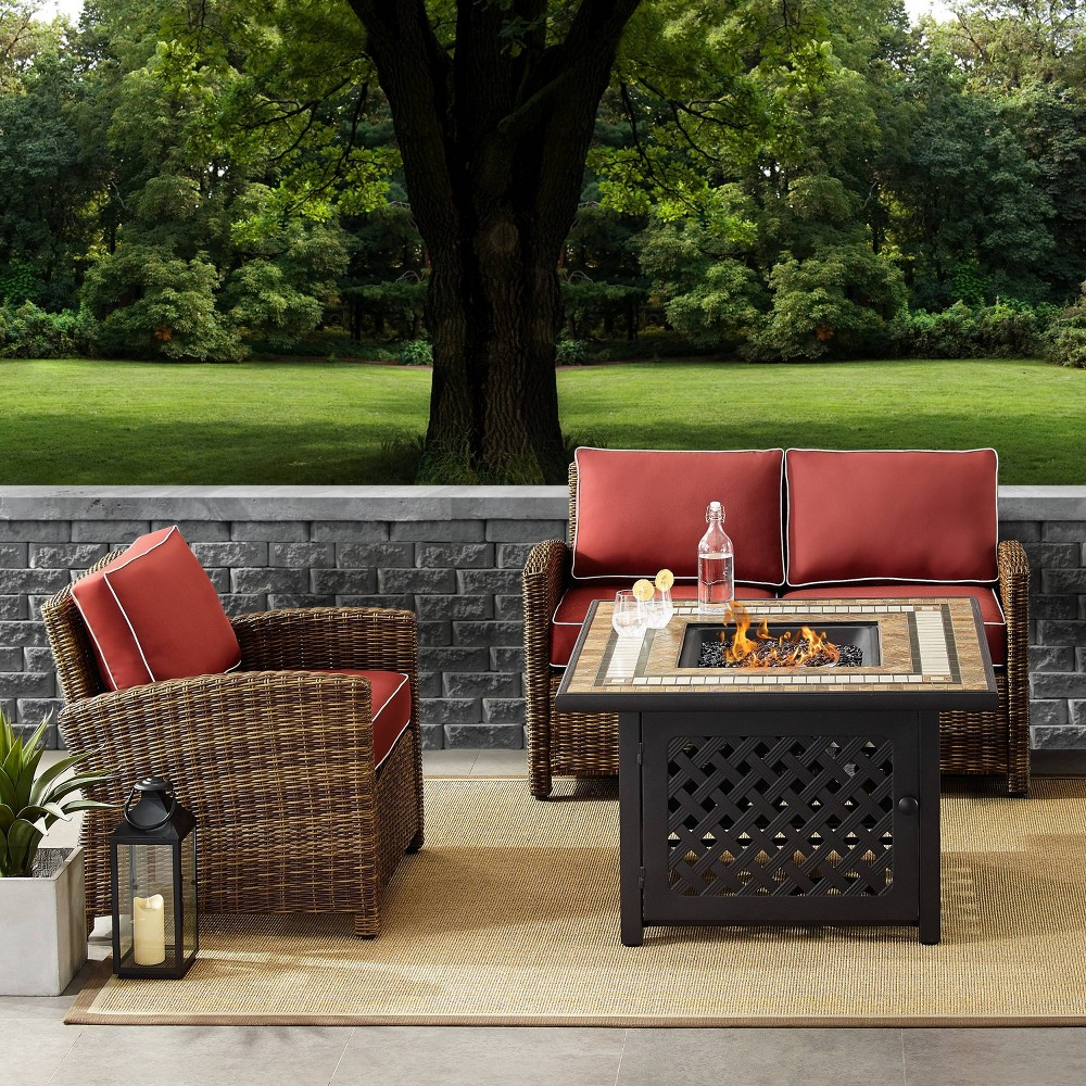 Image of 3pc Bradenton Outdoor Wicker Seating Set with Sangria Cushions Brown - Crosley