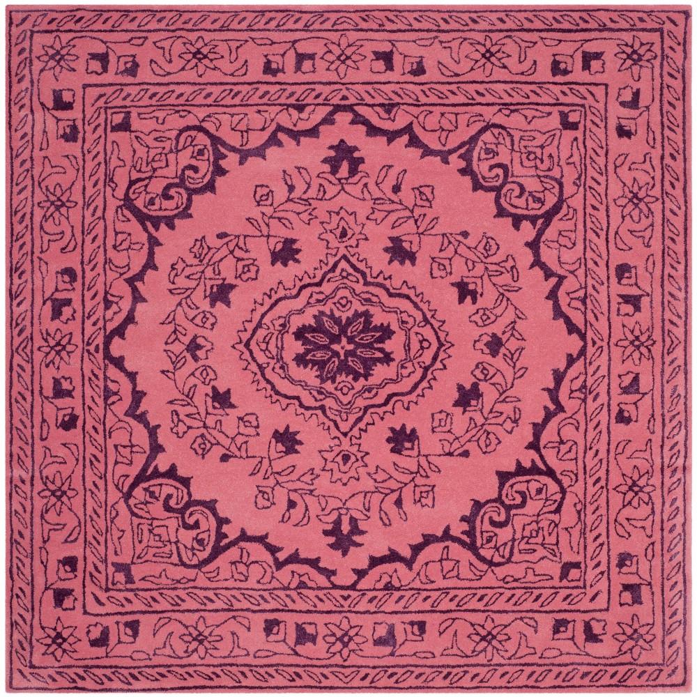 6'X6' Medallion Tufted Square Area Rug Pink - Safavieh