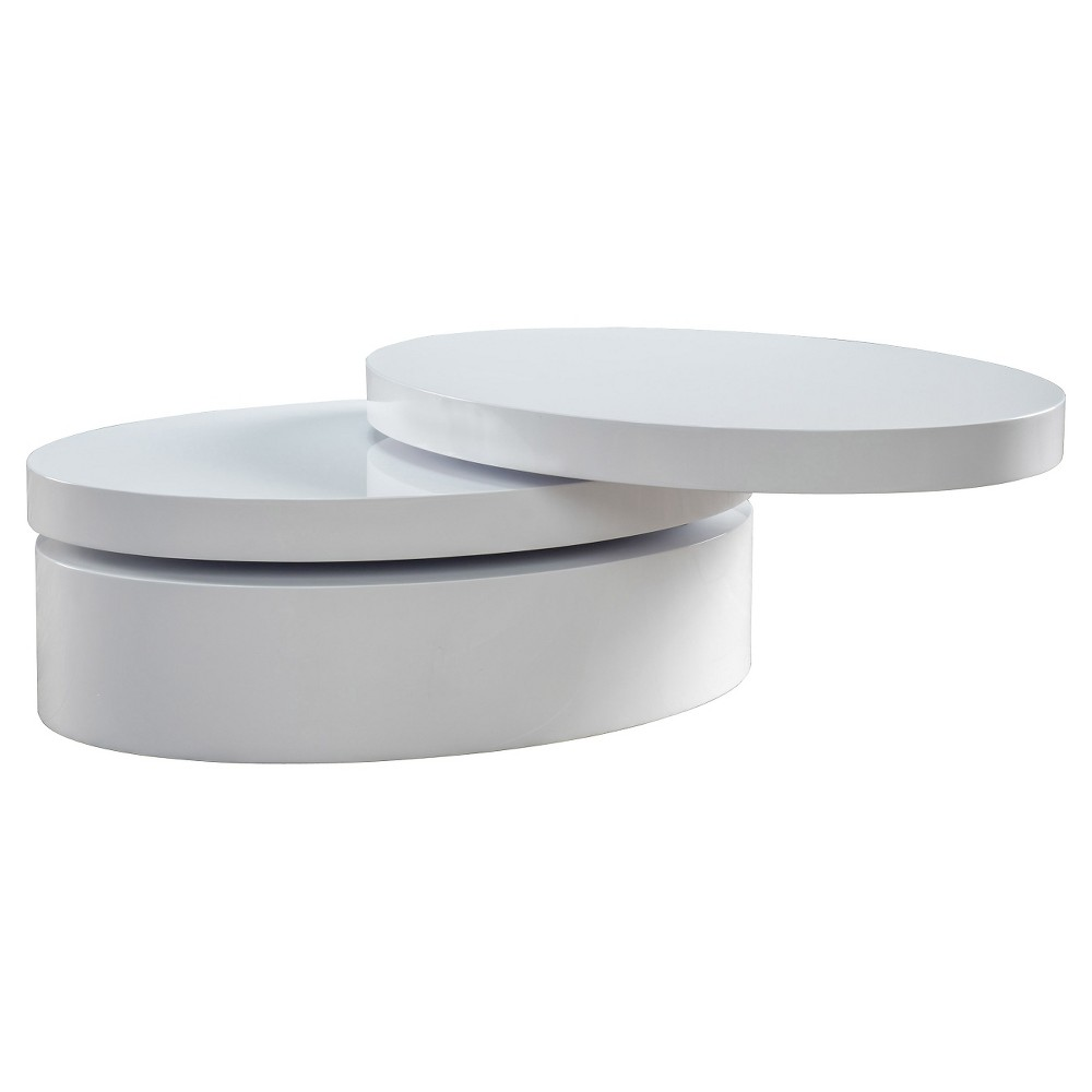 Carson Small Oval Rotatable Coffee Table Glossy White - Christopher Knight Home