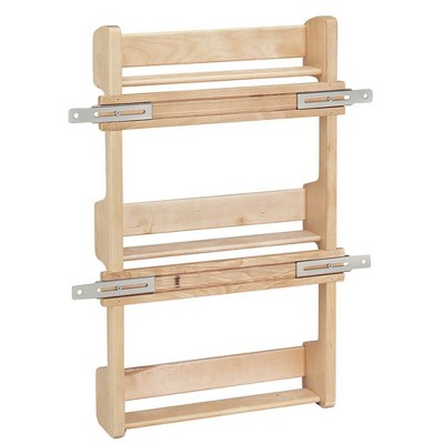 Rev-A-Shelf 4SR-15 15-Inch Kitchen Cabinet Door Mounted Wooden 3-Shelf Storage Spice Rack with Mounting Hardware, Natural Maple