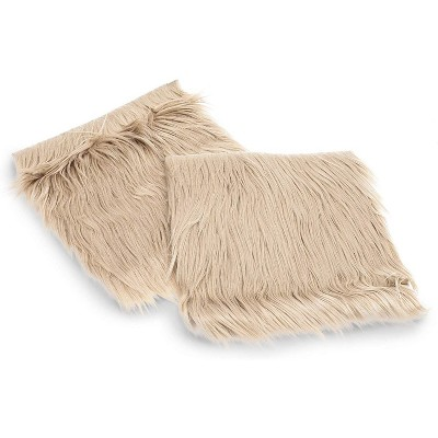 2 Pack Faux Fur Silky Seat Cushion Beige Chair Cover Seat Pads Plush for Home Decorations