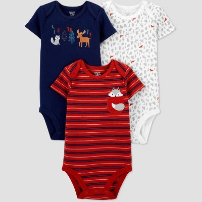 Baby Boys' 3pk Fox Short Sleeve Bodysuit - Just One You® made by carter's Blue 3M
