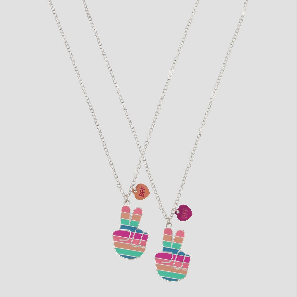 Girls' Bff Striped Peace Signs Necklace Set - Cat & Jack, Multi-Colored
