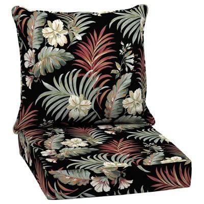 Arden Selections Outdoor Deep Seat Set Black Simone Tropical