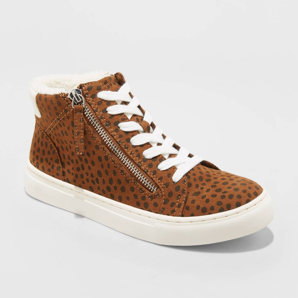 Discounts Women's Tilly Leopard Print Faux Sherpa Lined High Top Sneakers - Universal Thread™ Brown