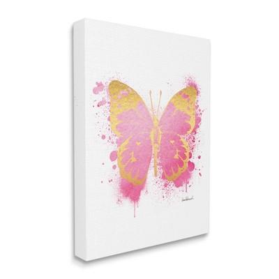 Stupell Industries Hot Pink Pop Butterfly Glam Paint Splatter
