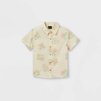 Toddler Boys' Desert Scene Short Sleeve Button-Down Shirt - art class™ Cream