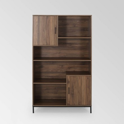 """64.5"""" Frankford Contemporary Cube Unit Bookcase Walnut - Christopher Knight Home"""