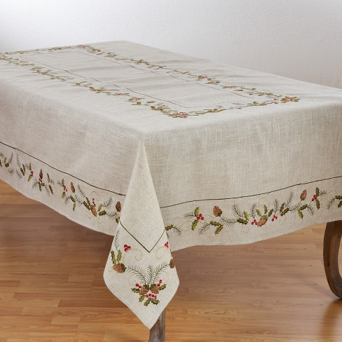 Saro Lifestyle Poly Blend Holiday Tablecloth With Pinecone And Holly Print - image 1 of 2