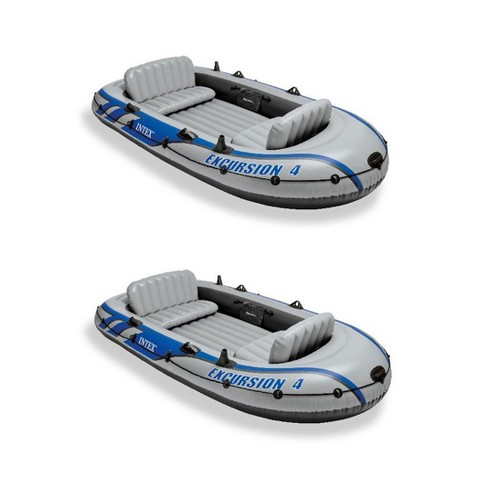 Intex Excursion Inflatable Rafting Fishing 4 Person Boat W/ Oars & Pump (2  Pack)