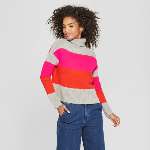 Xl Mockneck Color Cliche Women's Sweater Block Long Sleeve Striped Pink QdCexrBoW