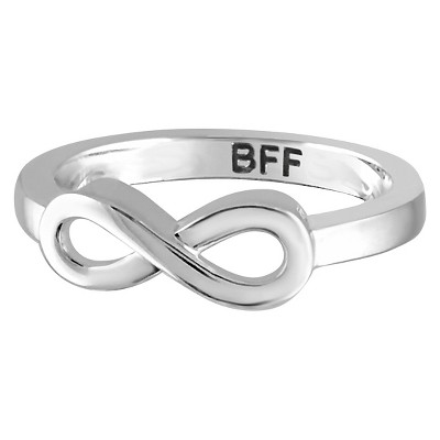 "Women's Sterling Silver Elegantly Engraved Infinity Ring with ""BFF"""