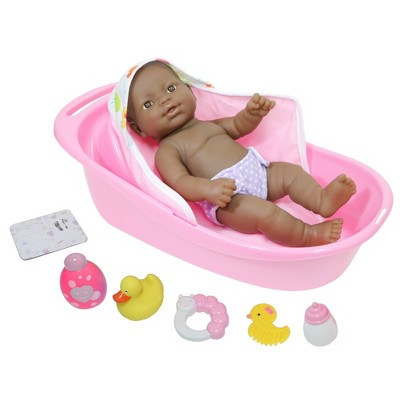 "JC Toys La Newborn All Vinyl 13"" Realistic Baby Doll Bathtub Set 8pc Set - Brown Eyes"