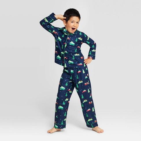 Kids' Holiday Car Pajama Set - Wondershop™ Navy - image 1 of 4