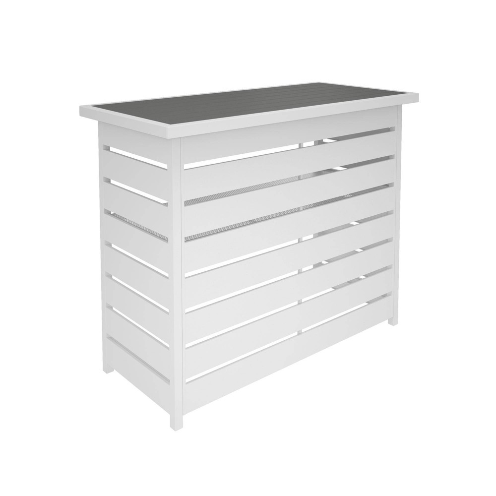 Image of Ariesa Outdoor Bar Table - White & Gray - CosmoLiving, Gray White