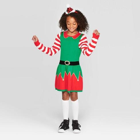 Christmas Elf Costume.Well Worn Girls Christmas Elf Dress Green