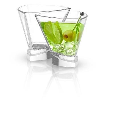JoyJolt Aqua Vitae Triangle Martini Glass - Set of 2 Crystal Glassware with Off Set Base - 7.2 oz