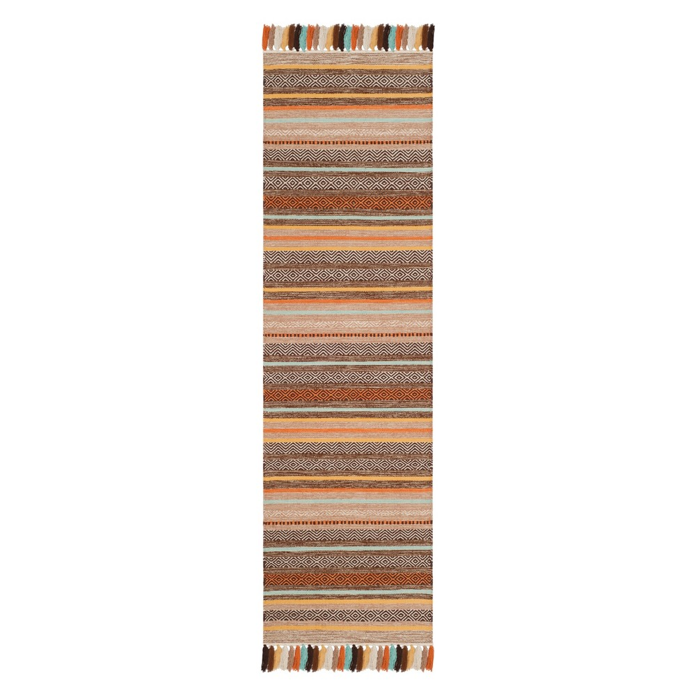 2'2X8' Stripe Woven Runner Brown - Safavieh, Brown/Multi-Colored