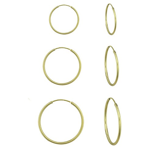 Girls' Gold Over Silver 3 Pr Endless Hoop Earring Set-10Mm/12Mm/14Mm - image 1 of 1