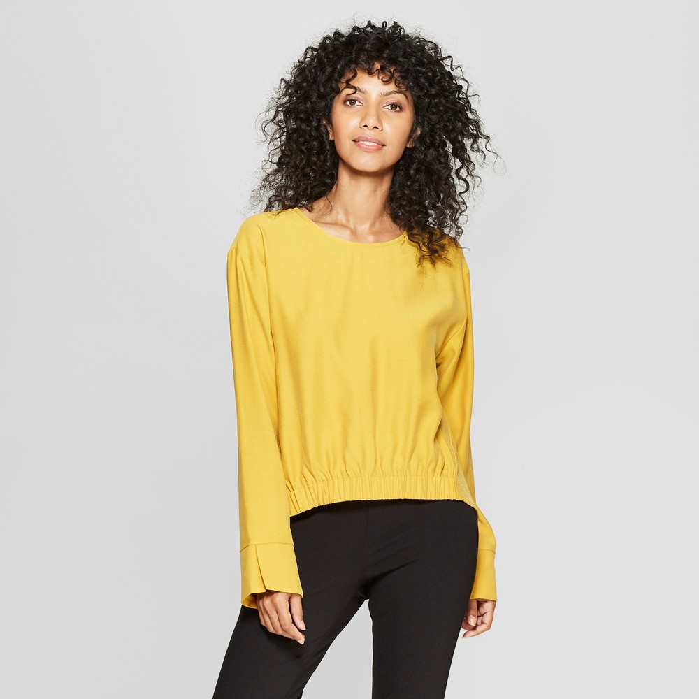 Women's Long Sleeve Elastic Front Blouse - Prologue Yellow XS