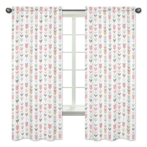 Coral Mint Arrow Curtain Panels Sweet Jojo Designs Target
