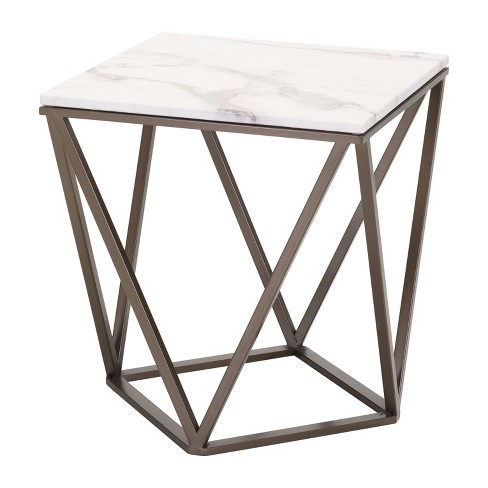 "Modern Faux Marble 20"" End Table - Antique Brass - ZM Home - image 1 of 4"