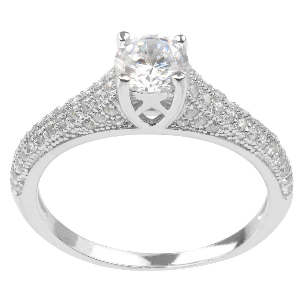 3/4 CT. T.W. Round-cut Cubic Zirconia Delicate Engagement Basket Set Ring in Sterling Silver - Silver, 9