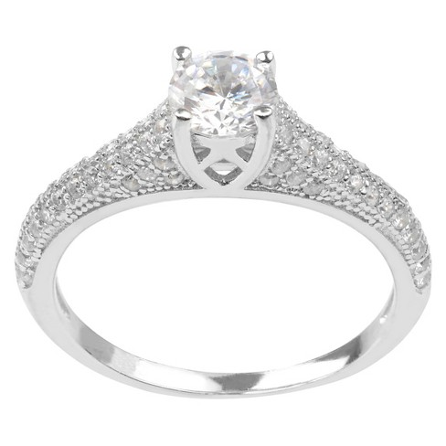 3/4 CT. T.W. Round-cut Cubic Zirconia Delicate Engagement Basket Set Ring in Sterling Silver - Silver - image 1 of 2