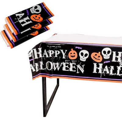 Juvale 3 Pack Happy Halloween Plastic Tablecloth, Table Cover Party Décor (54 x 108 in)