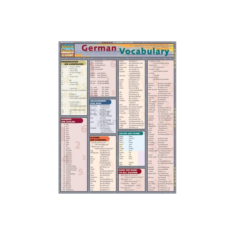 German Vocabulary Quickstudy Academic By Liliane Arnet Poster