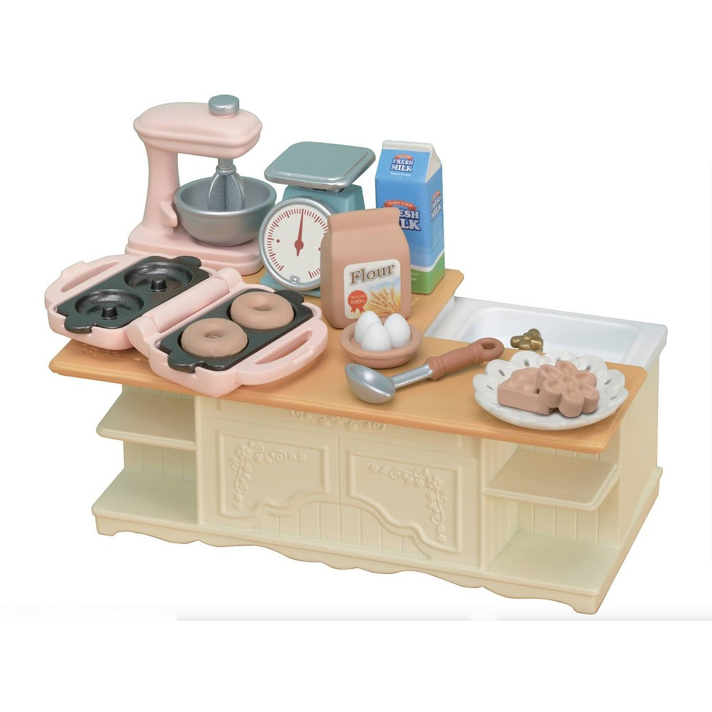 Kitchen Island, doll playsets Calico Critters miniature dollhouses, playsets and figures are timeless and classic high-quality toys. The kitchen island t set is the perfect additional to CC1810 Kitchen Play Set, and includes a kitchen island with sink and appliances. Includes kitchen appliances each with their own special feature, such as measuring scales that move up and down, a turnable mixer, and a waffle and donut maker with exchangeable molds. Collect more furniture sets from the Calico Critters line to fill Red Roof Cozy Cottage and Red Roof Country Home. Gender: female.
