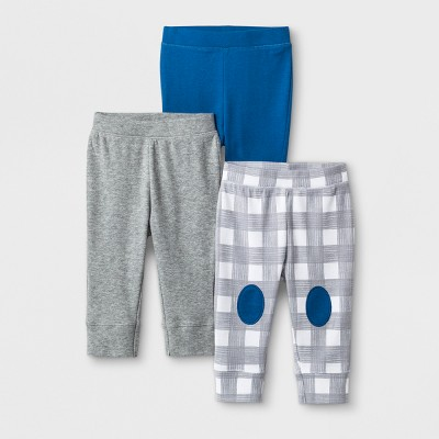 Baby Boys' 3pk Homespun Pants - Cloud Island™ Blue Newborn