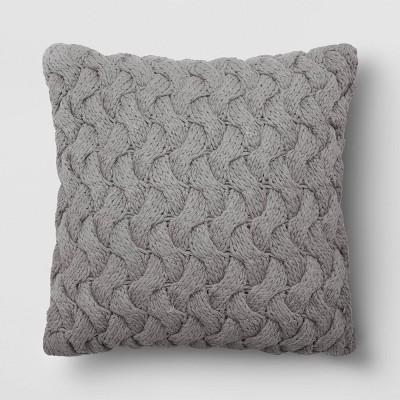 "18""x18"" Square Chunky Knit Throw Pillow Gray - Threshold™"
