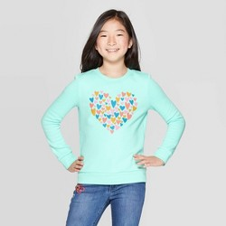 Girls' Long Sleeve Heart Fleece Crew Sweatshirt - Cat & Jack™ Mint