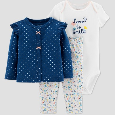 Baby Girls' 3pc Dot Set - Just One You® made by carter's Navy Newborn